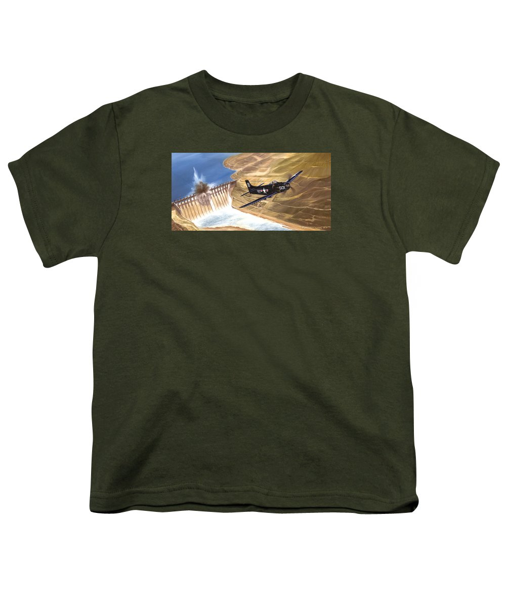 Military Youth T-Shirt featuring the painting Last Of The Dambusters by Marc Stewart