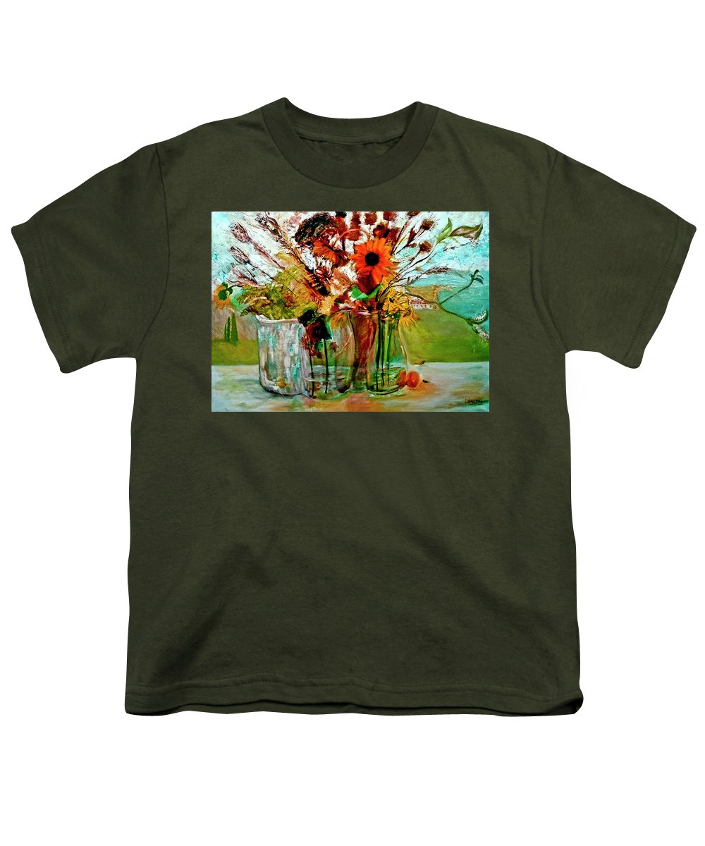 Flowers Jar Glass Thistle Picnic Green Lemon Rose Youth T-Shirt featuring the painting Late Summer by Jack Diamond