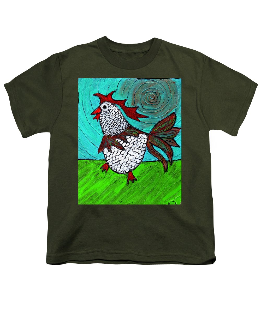 Rooster Youth T-Shirt featuring the painting Leader Of The Pack by Wayne Potrafka