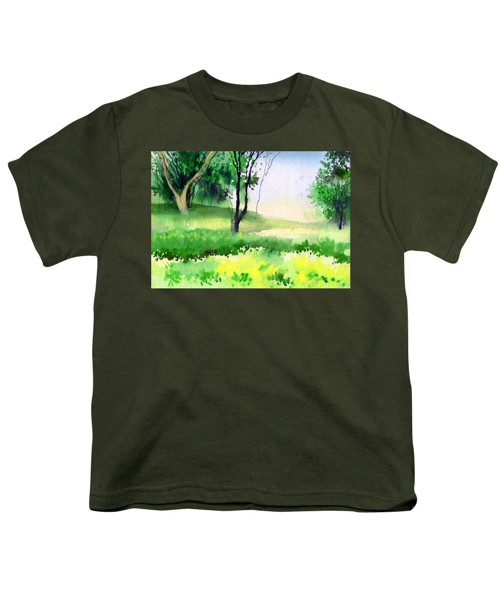 Watercolor Youth T-Shirt featuring the painting Let's Go For A Walk by Anil Nene