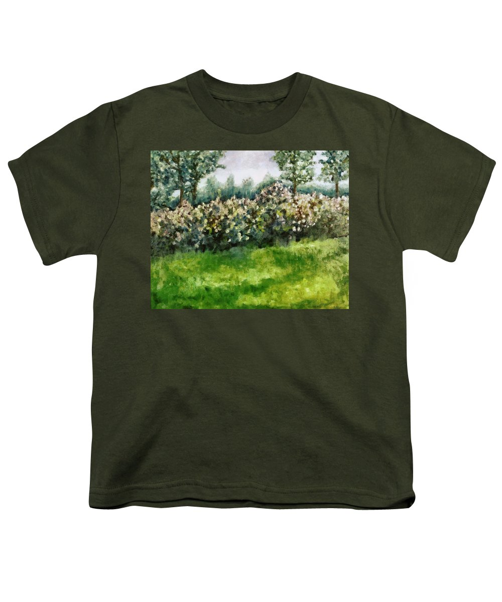 Spring Youth T-Shirt featuring the painting Lilac Bushes In Springtime by Michelle Calkins