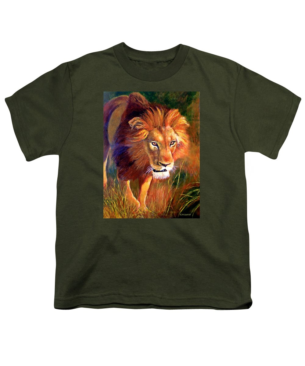 Lion Youth T-Shirt featuring the painting Lion At Sunset by Michael Durst