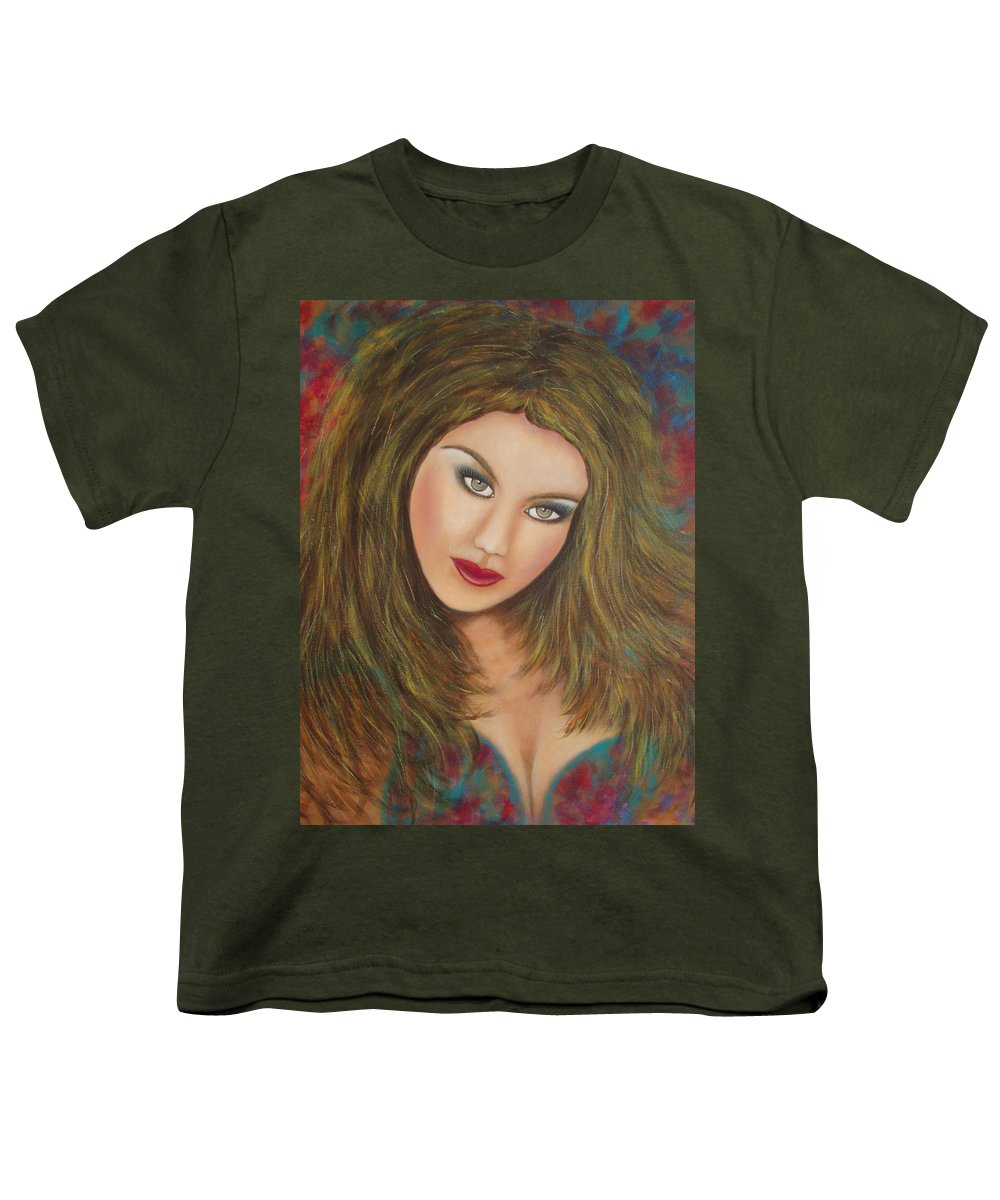 Portrait Youth T-Shirt featuring the painting Lioness by Natalie Holland