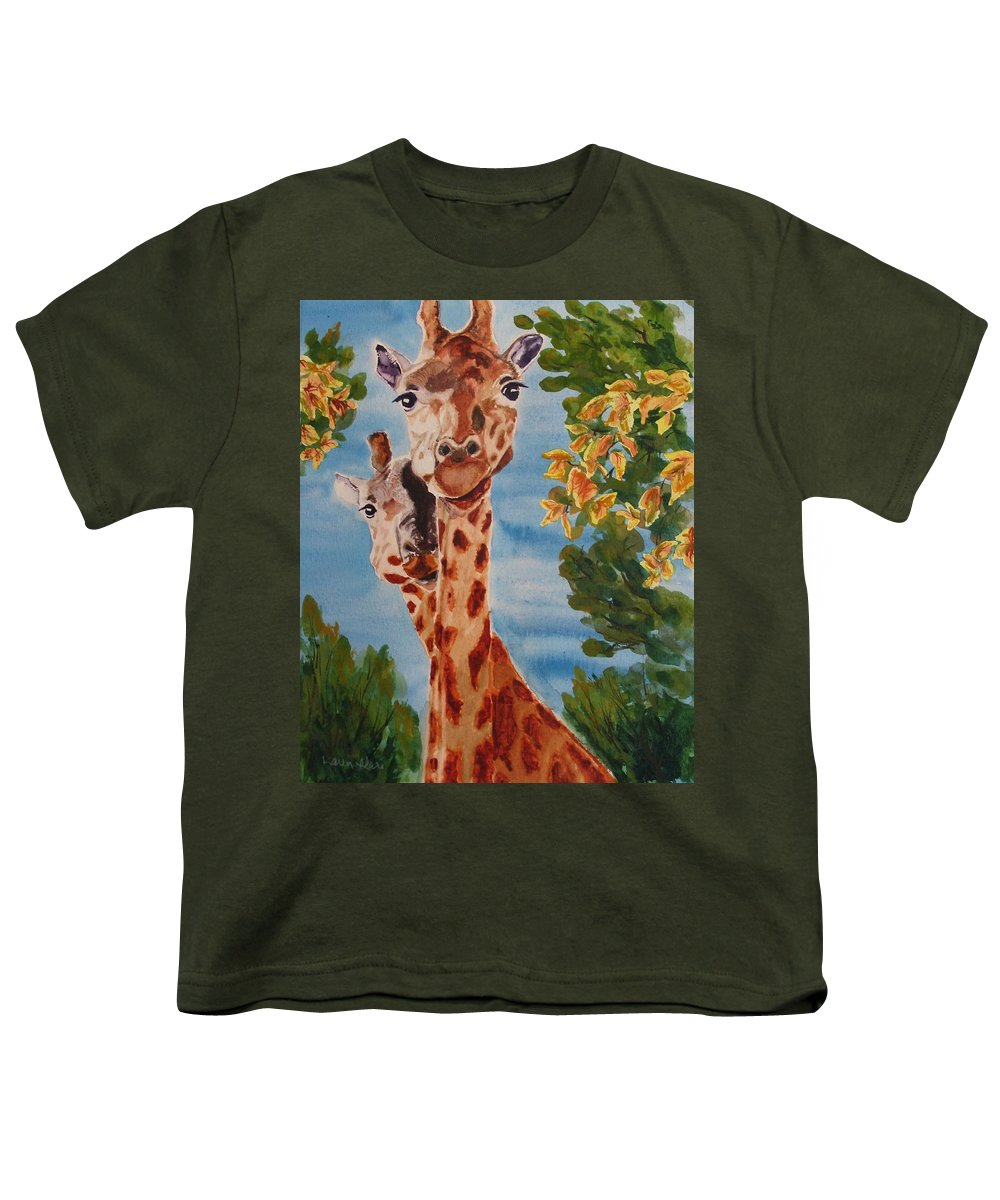 Giraffes Youth T-Shirt featuring the painting Lookin Back by Karen Ilari