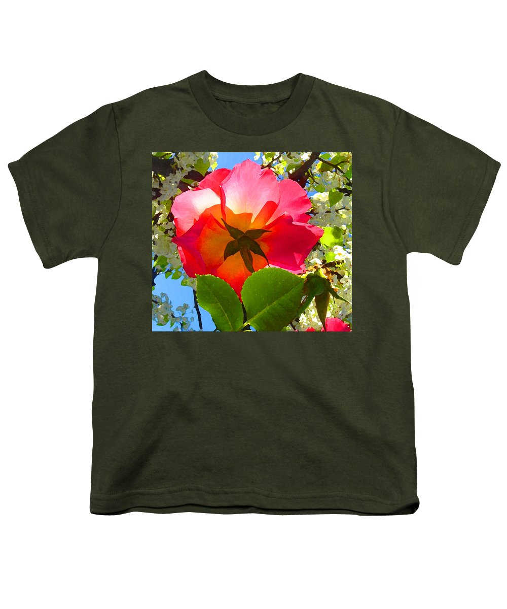 Roses Youth T-Shirt featuring the photograph Looking Up At Rose And Tree by Amy Vangsgard