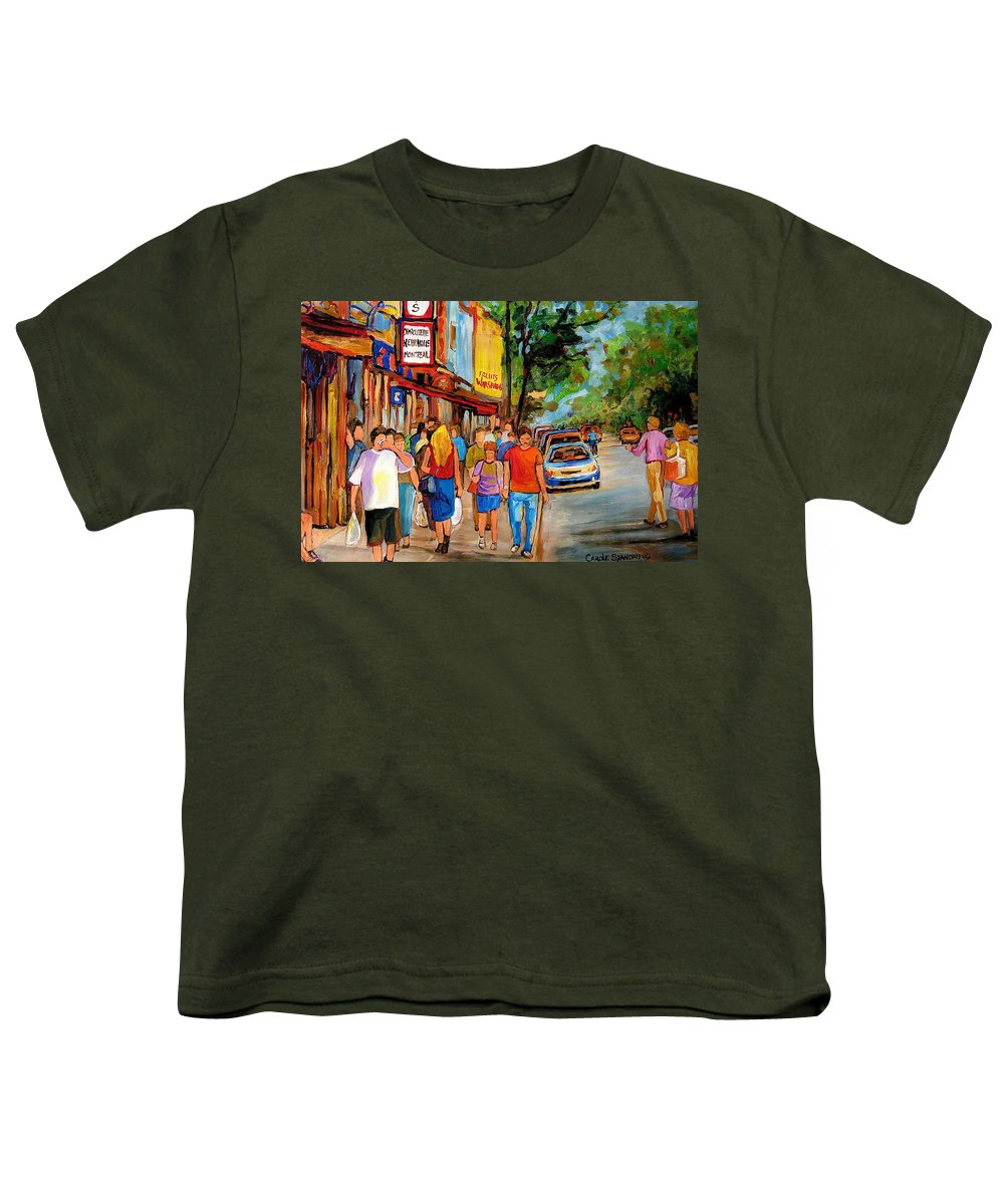 Montreal Streetscenes Youth T-Shirt featuring the painting Lunchtime On Mainstreet by Carole Spandau