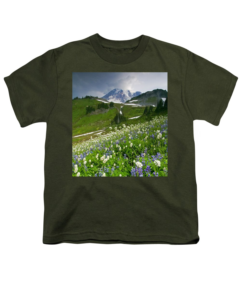 Rainier Youth T-Shirt featuring the photograph Lupine Storm by Mike Dawson