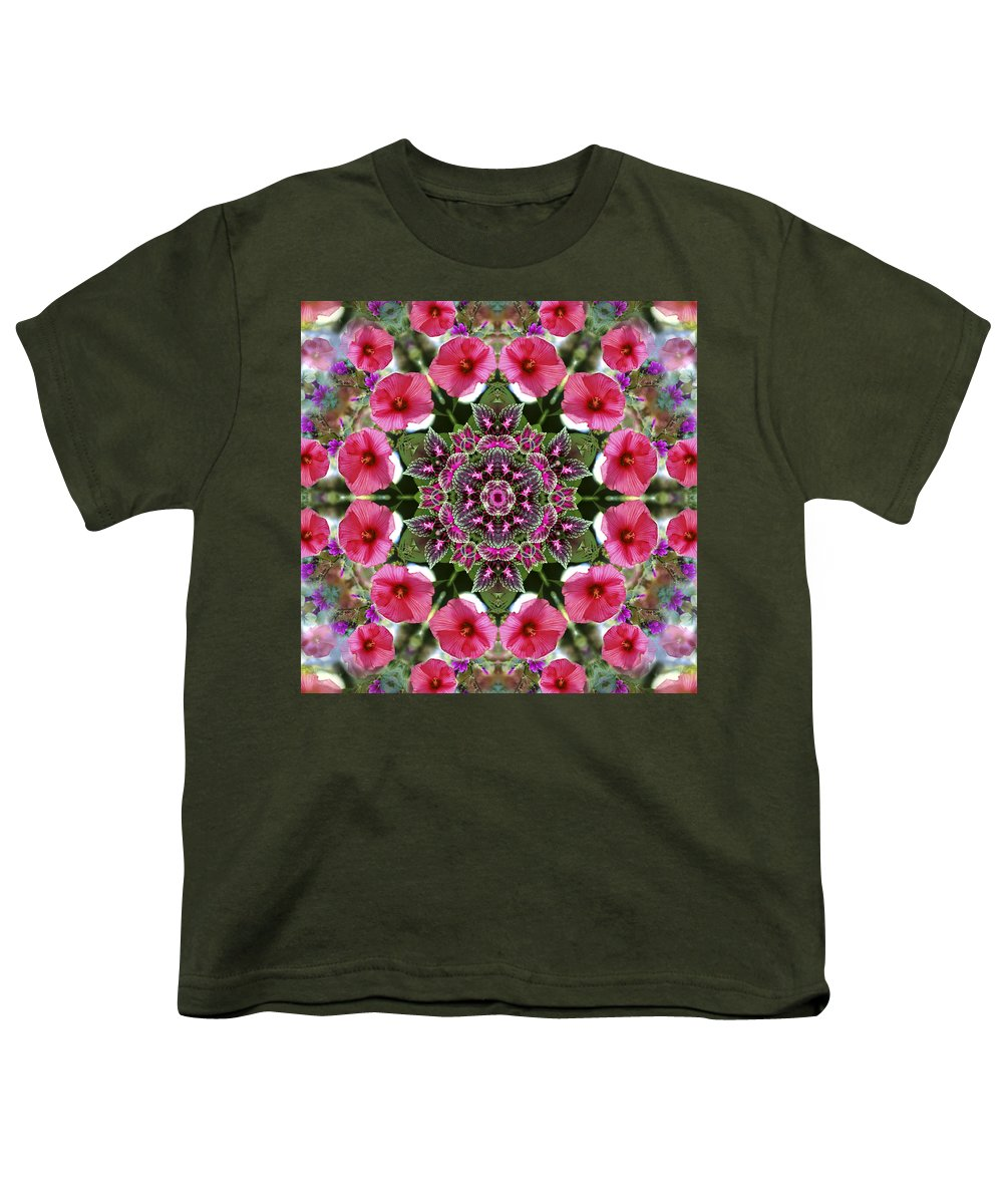 Mandala Youth T-Shirt featuring the digital art Mandala Pink Patron by Nancy Griswold