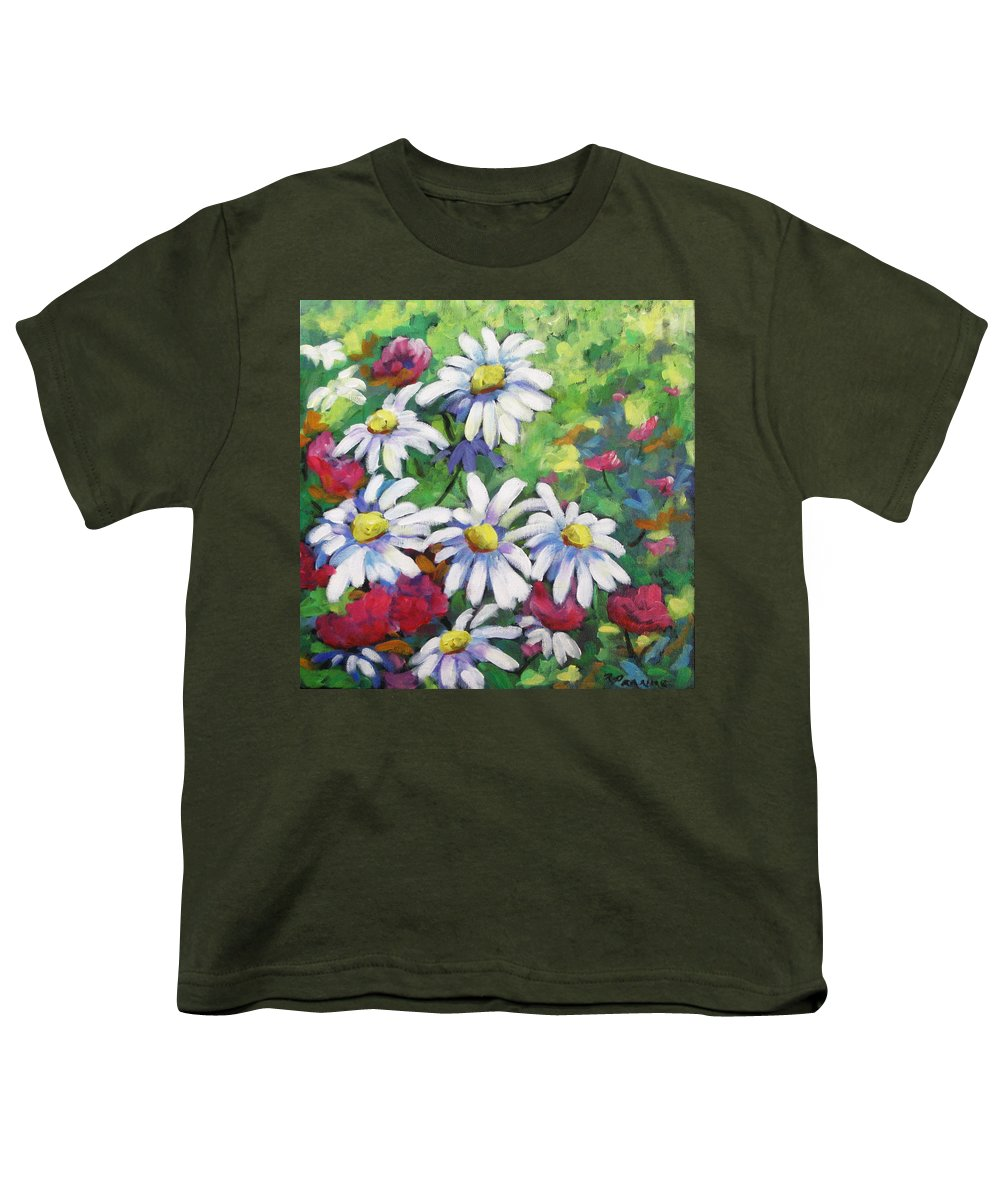 Fleurs Youth T-Shirt featuring the painting Marguerites 001 by Richard T Pranke