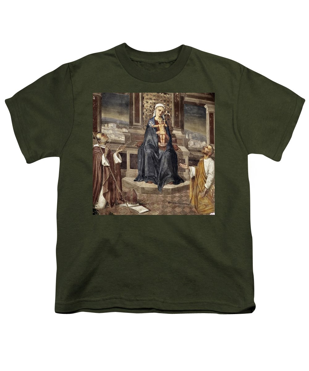 Italy Italian Mary Jesus Men Fresco Religious Religion Paint Painted Old Ancient Catholic Youth T-Shirt featuring the photograph Mary And Baby Jesus by Marilyn Hunt