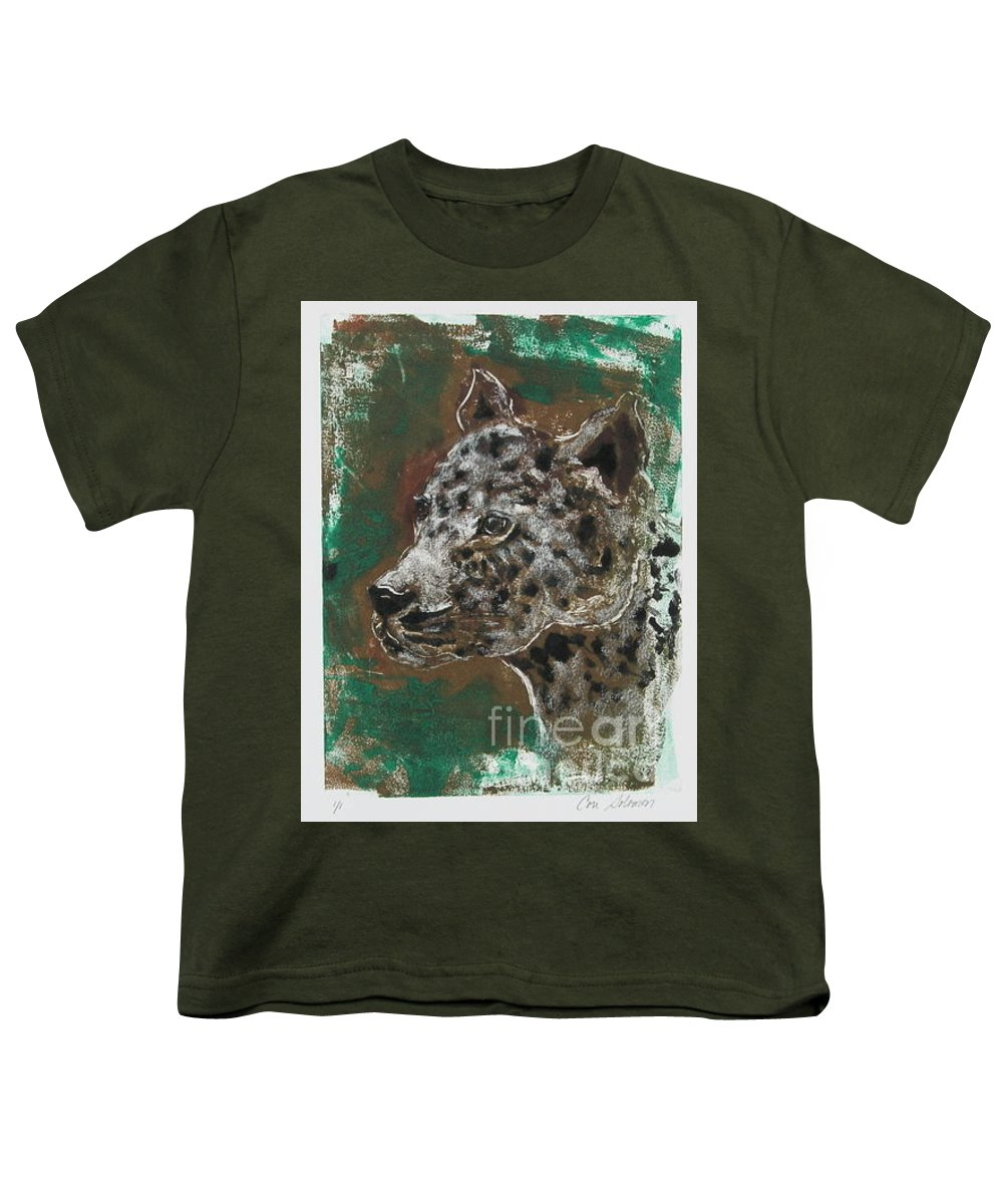 Monotype Youth T-Shirt featuring the mixed media Midnight Prowler by Cori Solomon