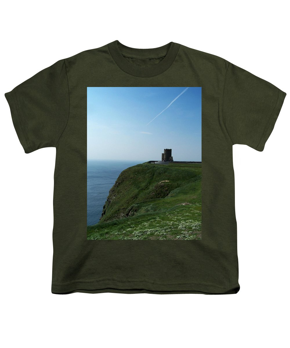 Irish Youth T-Shirt featuring the photograph O'brien's Tower At The Cliffs Of Moher Ireland by Teresa Mucha