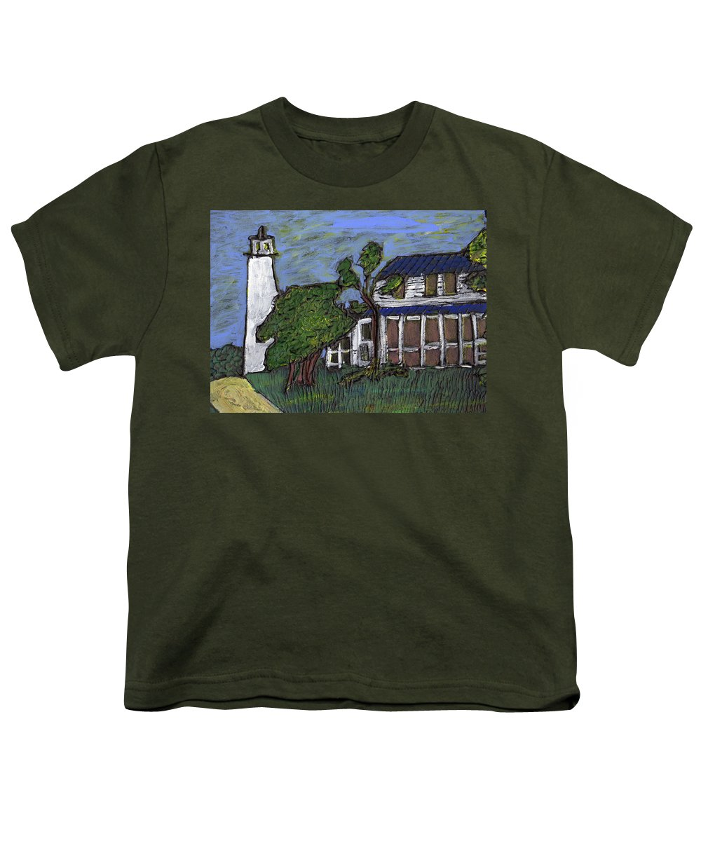 Light House Youth T-Shirt featuring the painting Ocracoke Island Light House by Wayne Potrafka