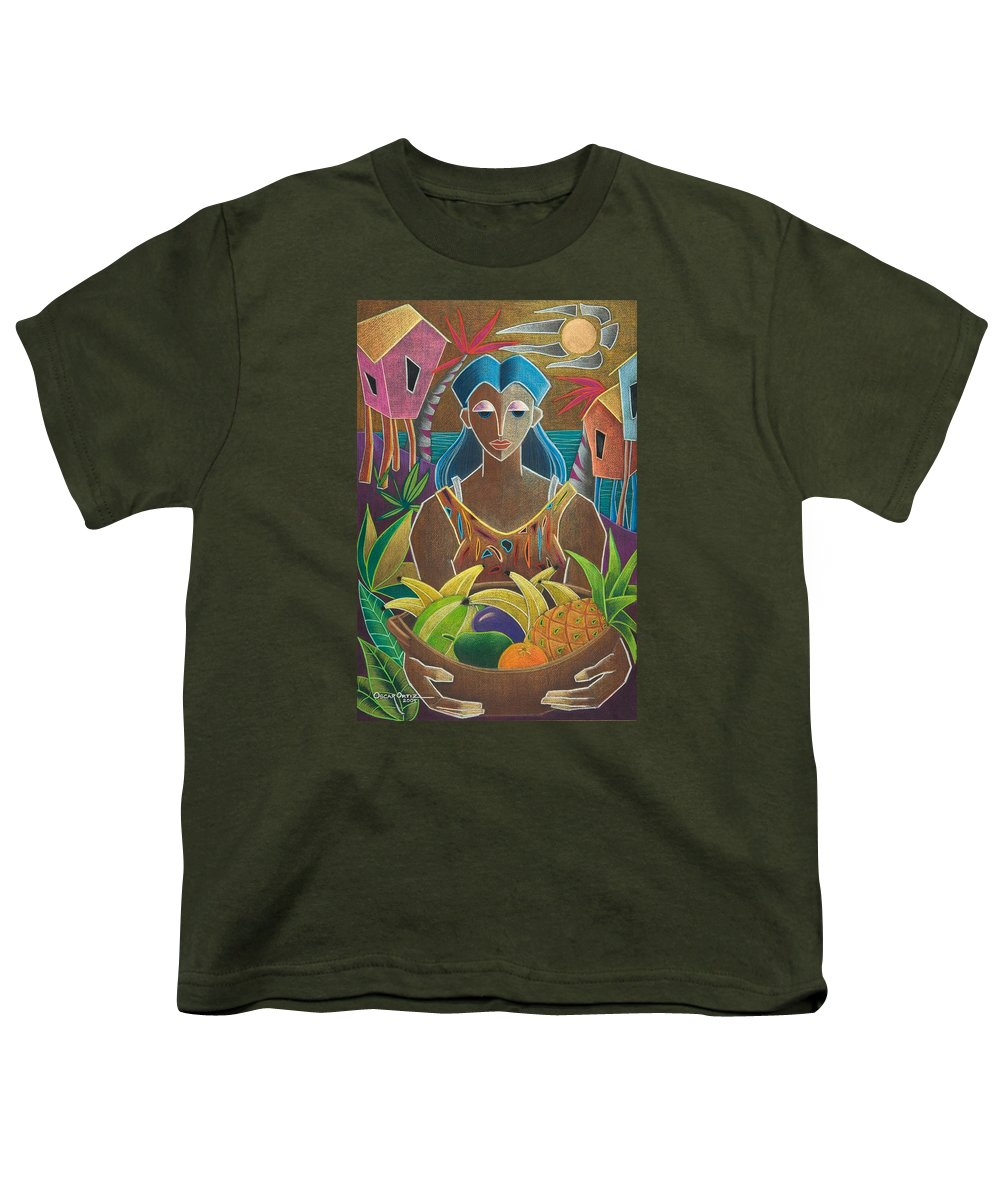 Female Youth T-Shirt featuring the painting Ofrendas De Mi Tierra by Oscar Ortiz
