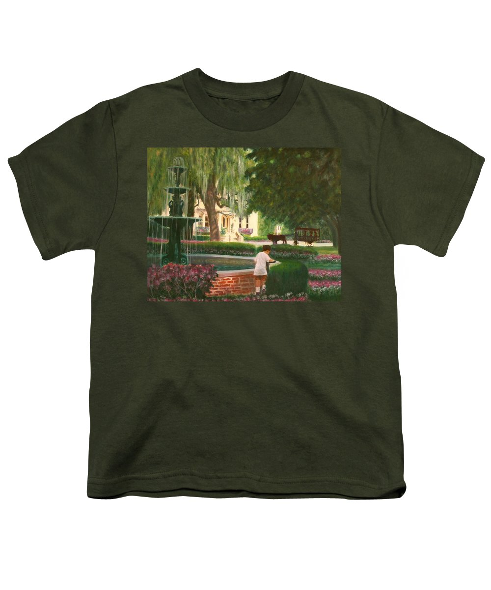 Savannah; Fountain; Child; House Youth T-Shirt featuring the painting Old And Young Of Savannah by Ben Kiger