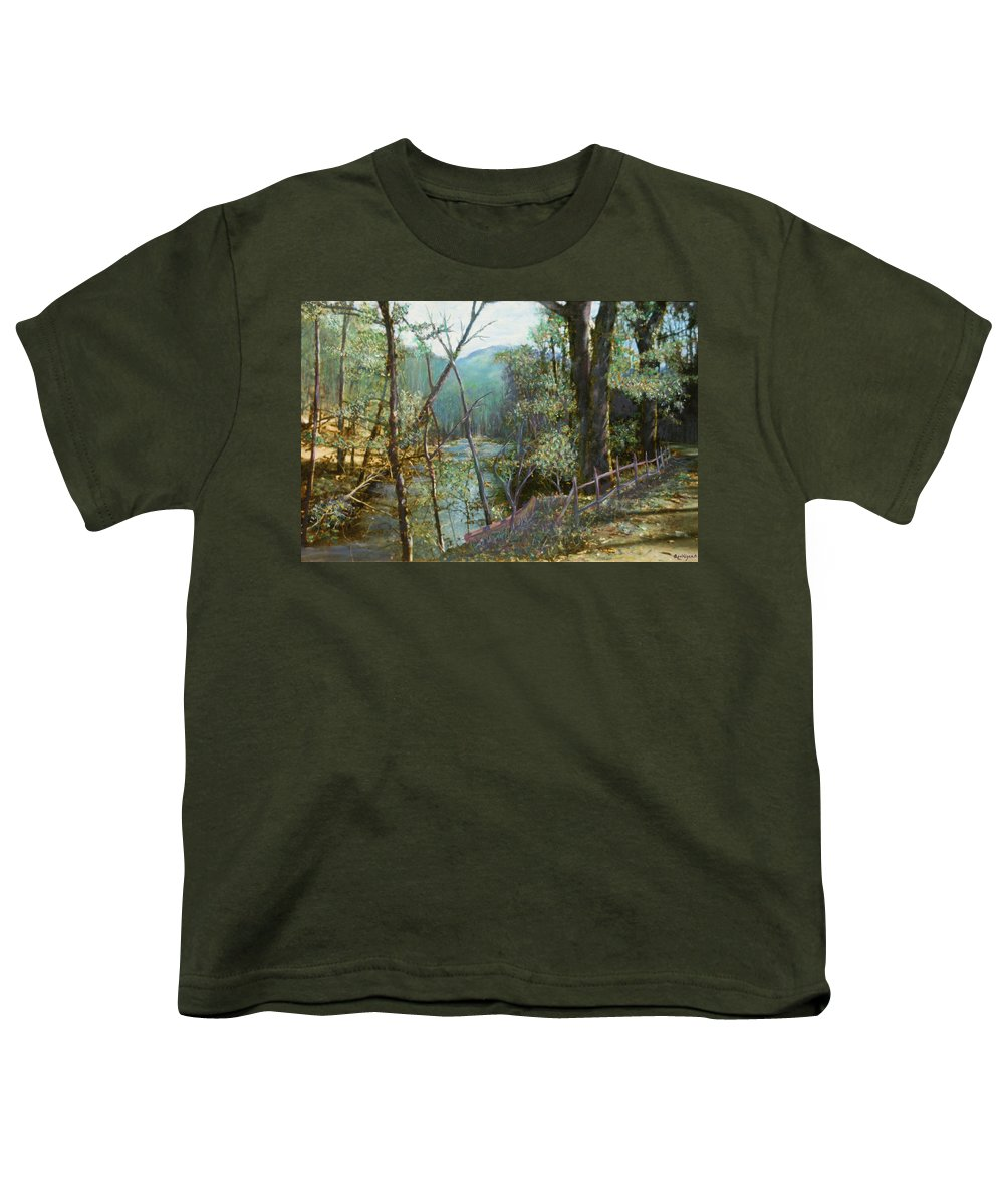 River; Trees; Landscape Youth T-Shirt featuring the painting Old Man River by Ben Kiger