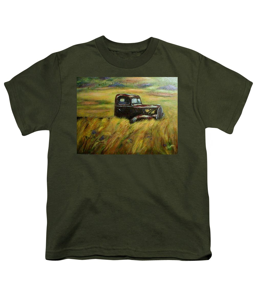 Vintage Truck Youth T-Shirt featuring the painting Out To Pasture by Gail Kirtz