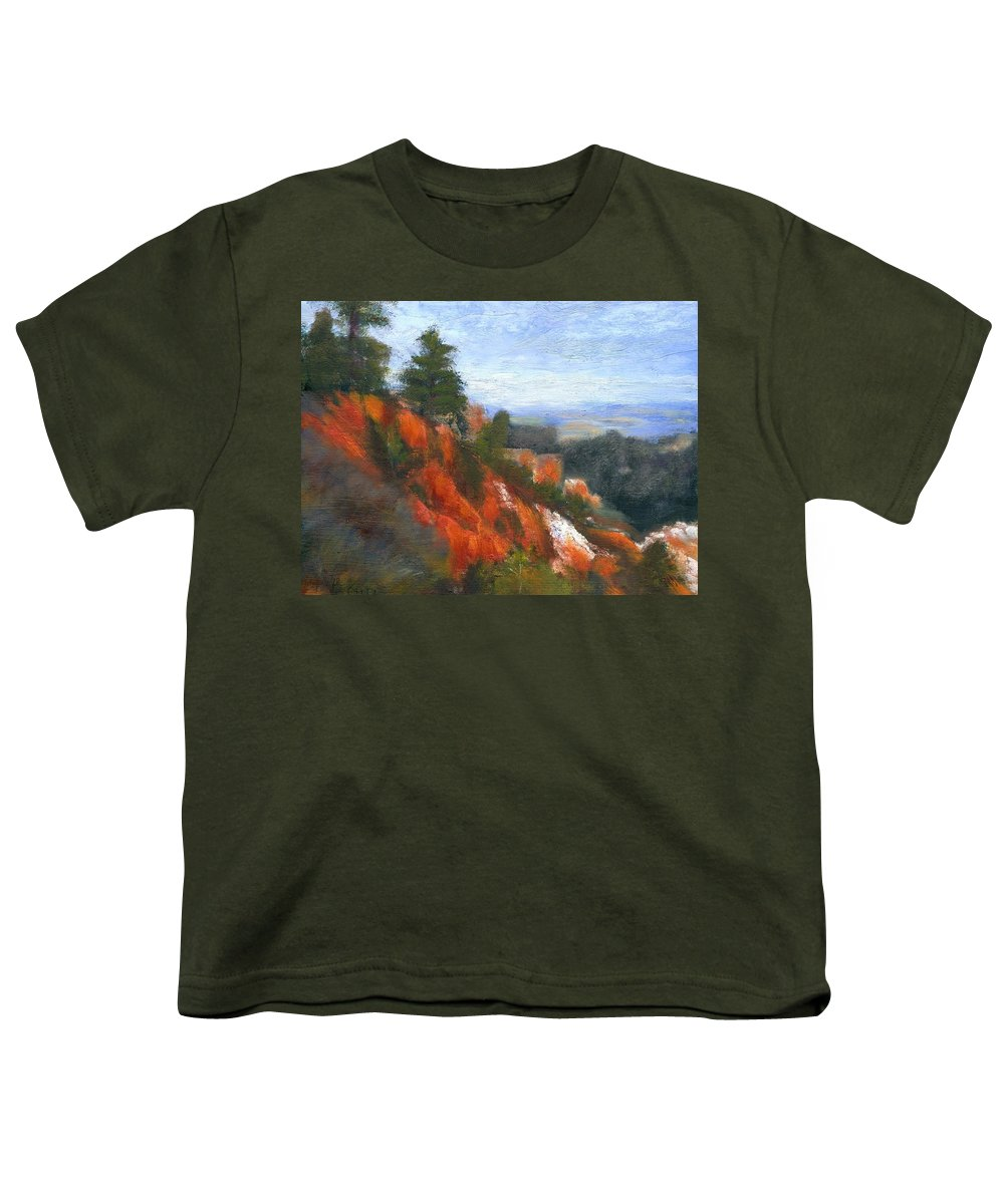 Southwest Youth T-Shirt featuring the painting Overlook by Gail Kirtz