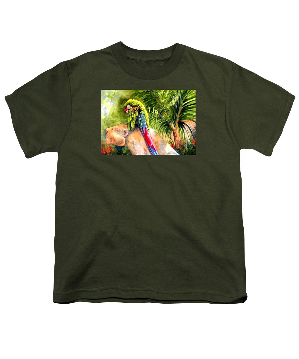 Parrot Youth T-Shirt featuring the painting Pajaro by Karen Stark