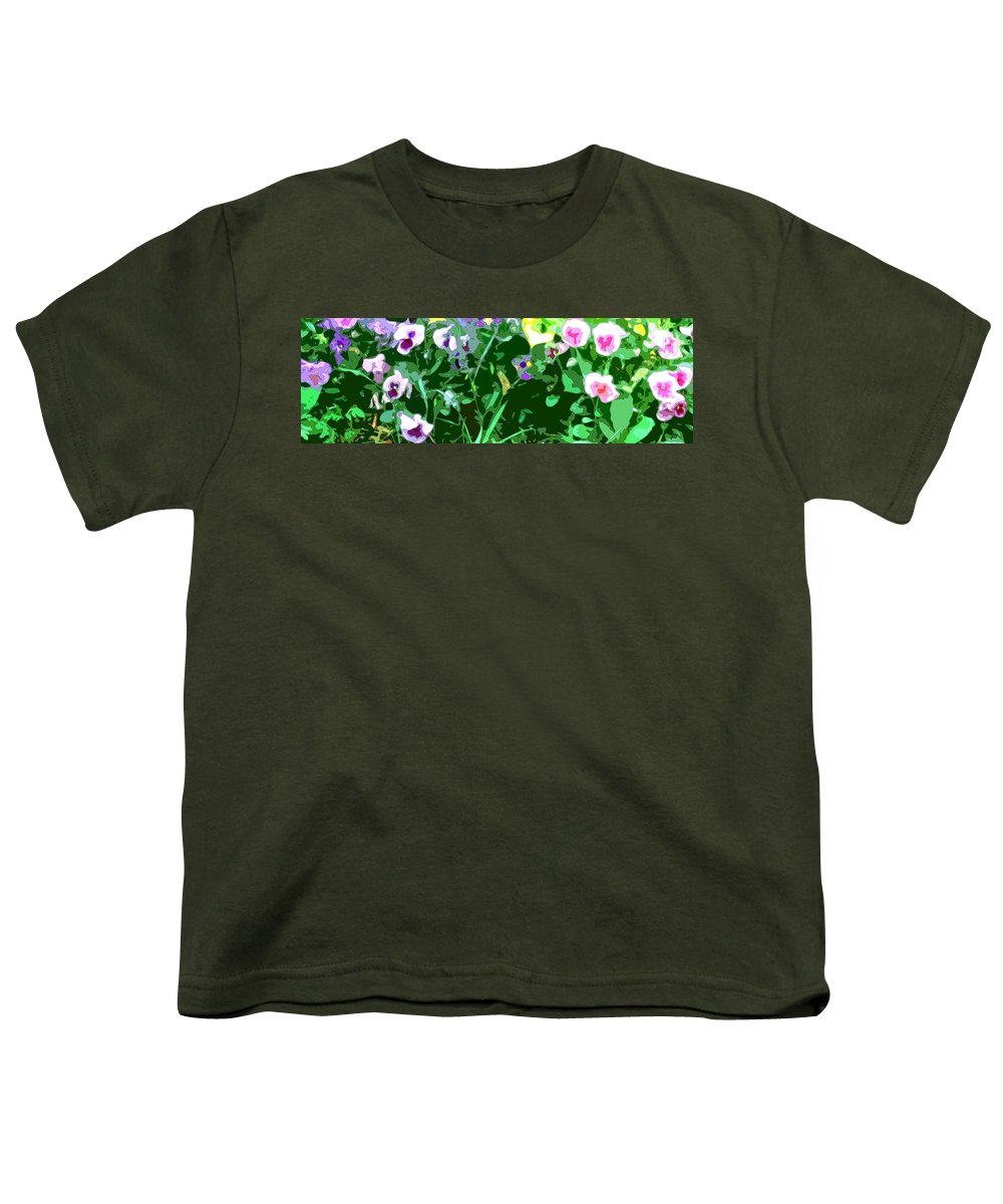 Abstract Youth T-Shirt featuring the digital art Pansy Flower Garden by Linda Mears