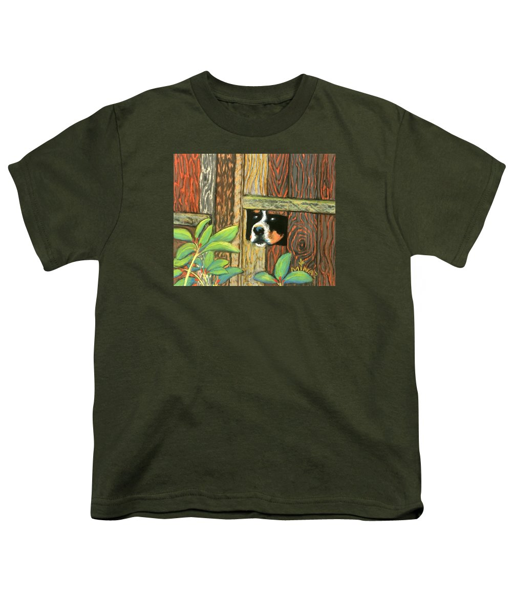 Dog Youth T-Shirt featuring the painting Peek-a-boo Fence by Minaz Jantz