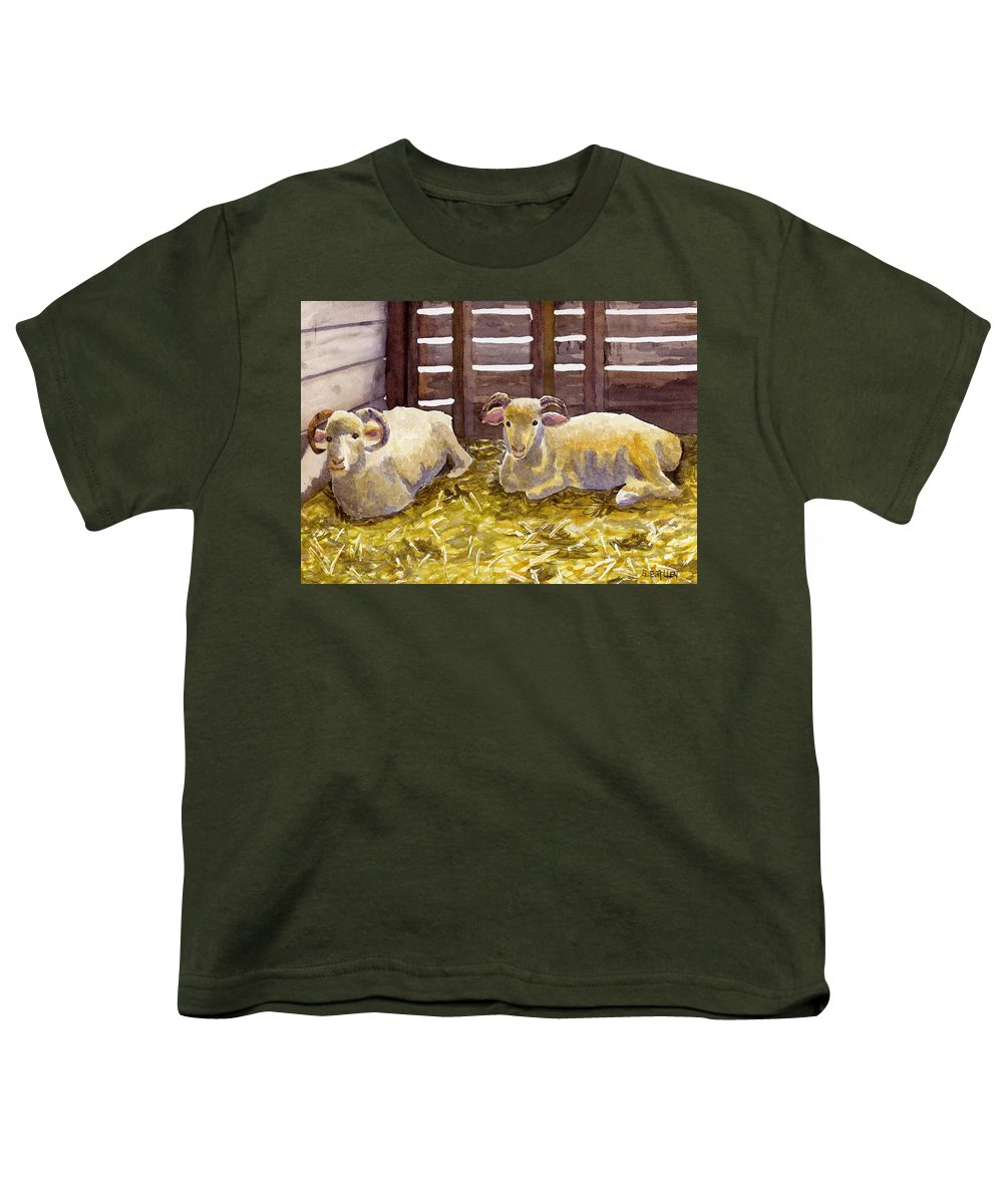 Sheep Youth T-Shirt featuring the painting Pen Pals by Sharon E Allen