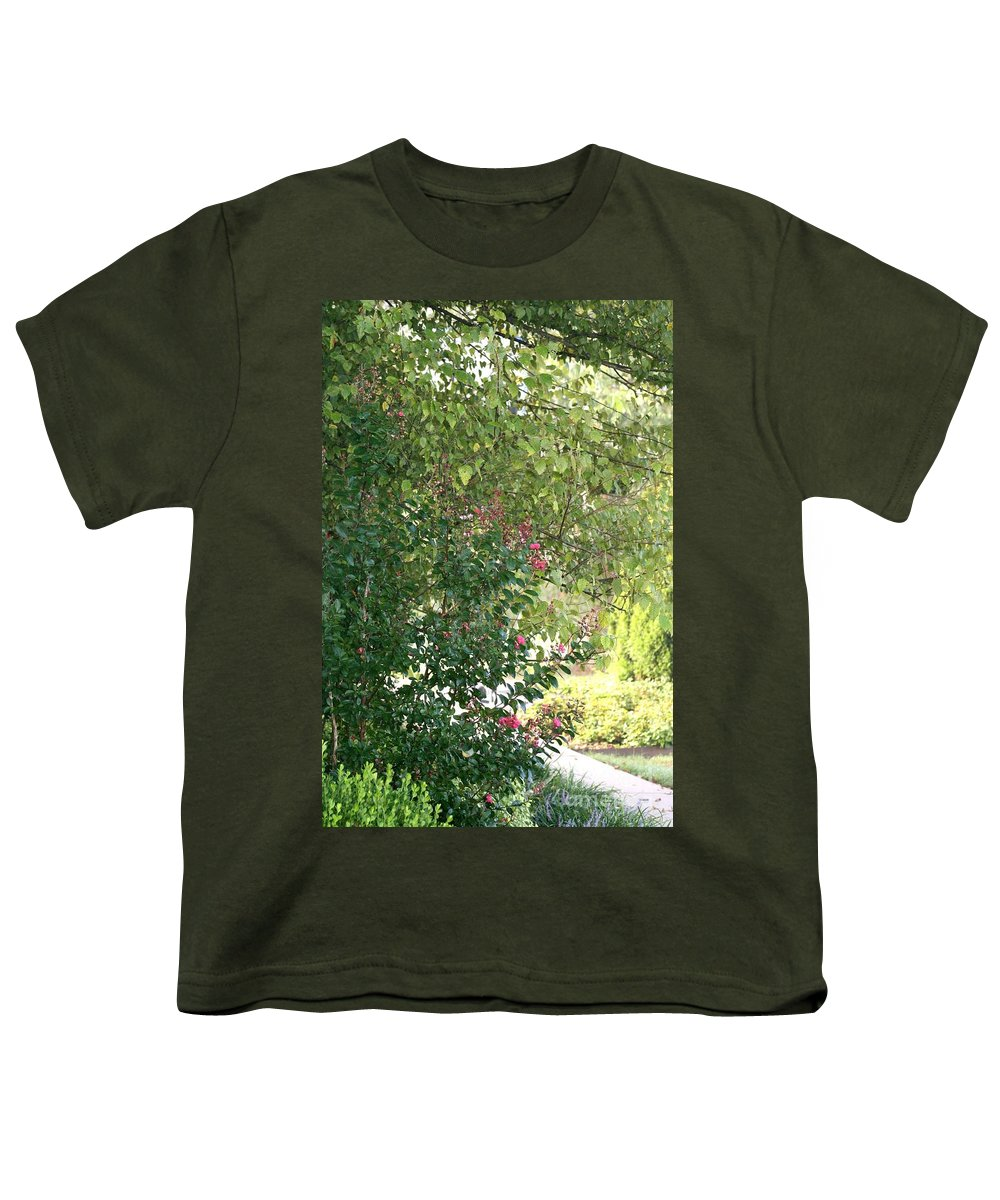 Path Youth T-Shirt featuring the photograph Pink And Green Path by Nadine Rippelmeyer