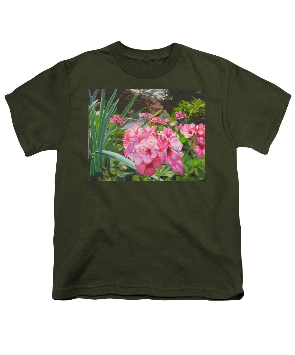 Pink Geraniums Youth T-Shirt featuring the painting Pink Geraniums by Lea Novak