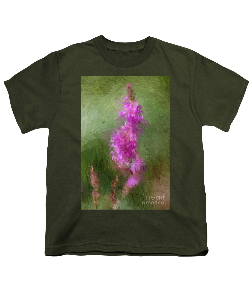 Abstract Youth T-Shirt featuring the digital art Pink Nature Abstract by David Lane