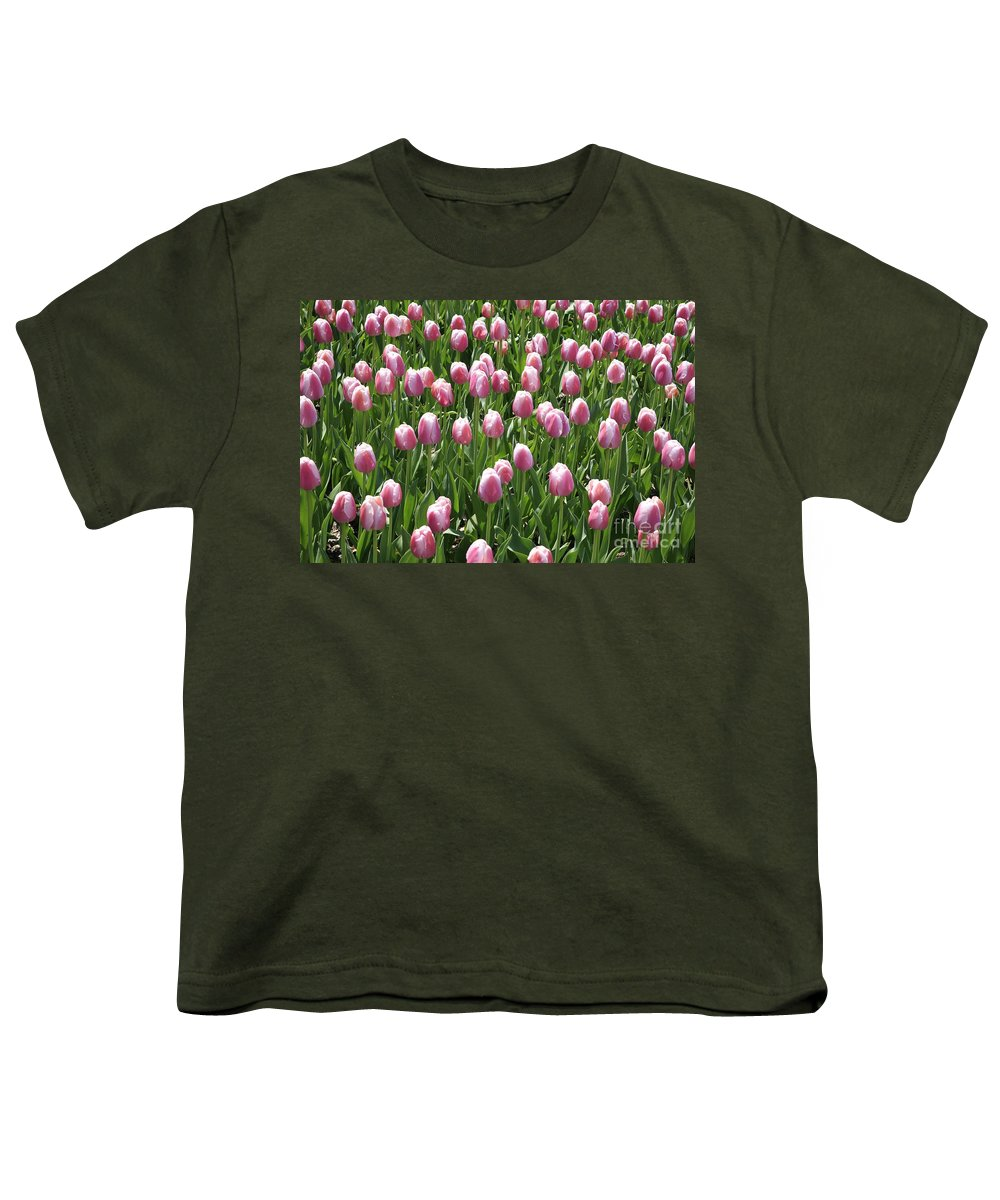 Tulip Youth T-Shirt featuring the photograph Pink Tulip Field by Robert Pearson