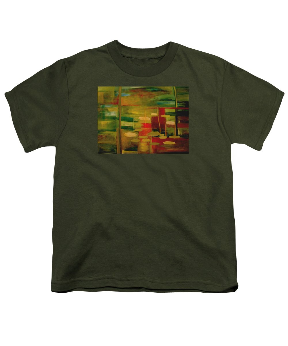 Pond Youth T-Shirt featuring the painting Pond Reflections by Jun Jamosmos