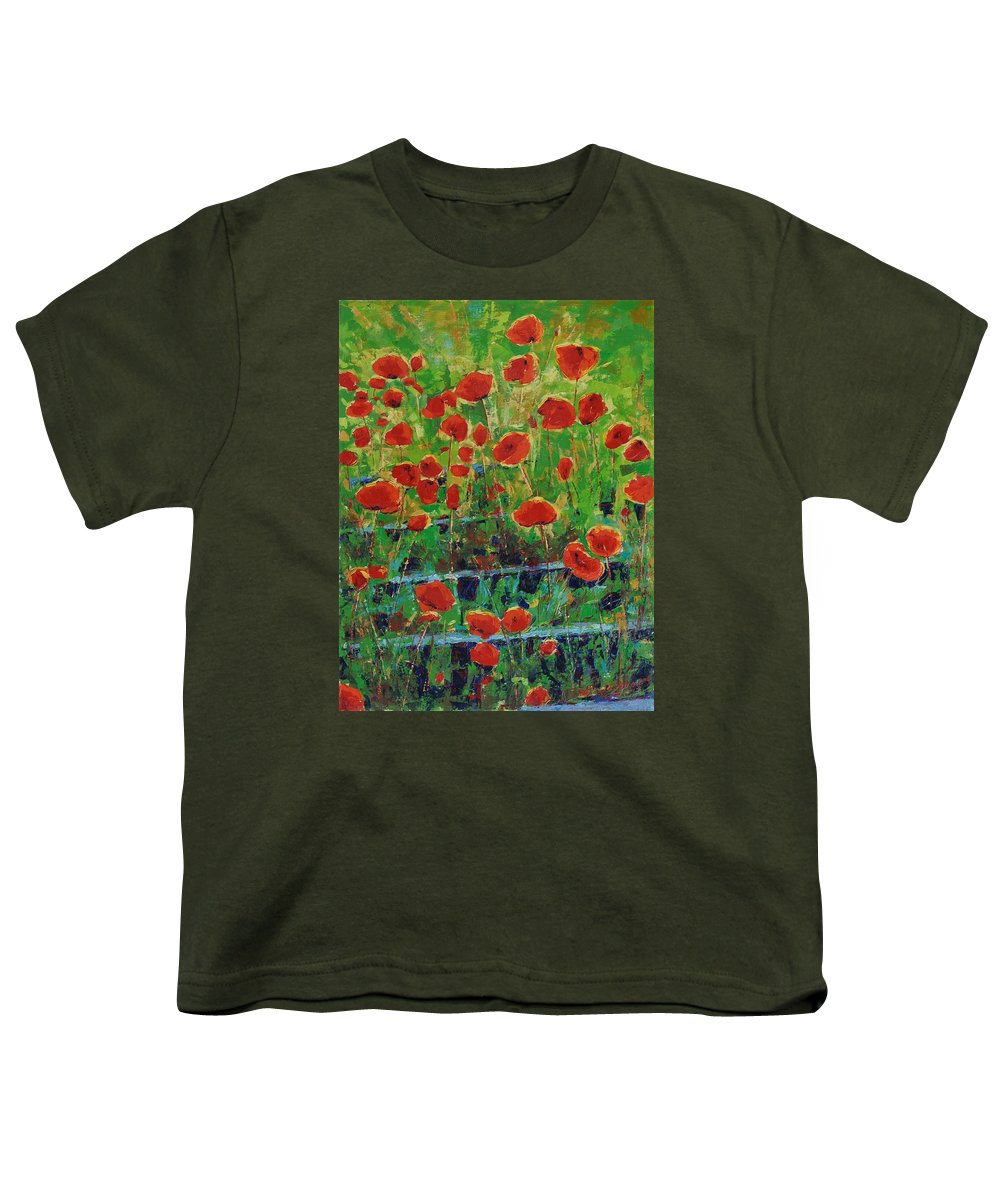 Poppies Youth T-Shirt featuring the painting Poppies And Traverses 1 by Iliyan Bozhanov