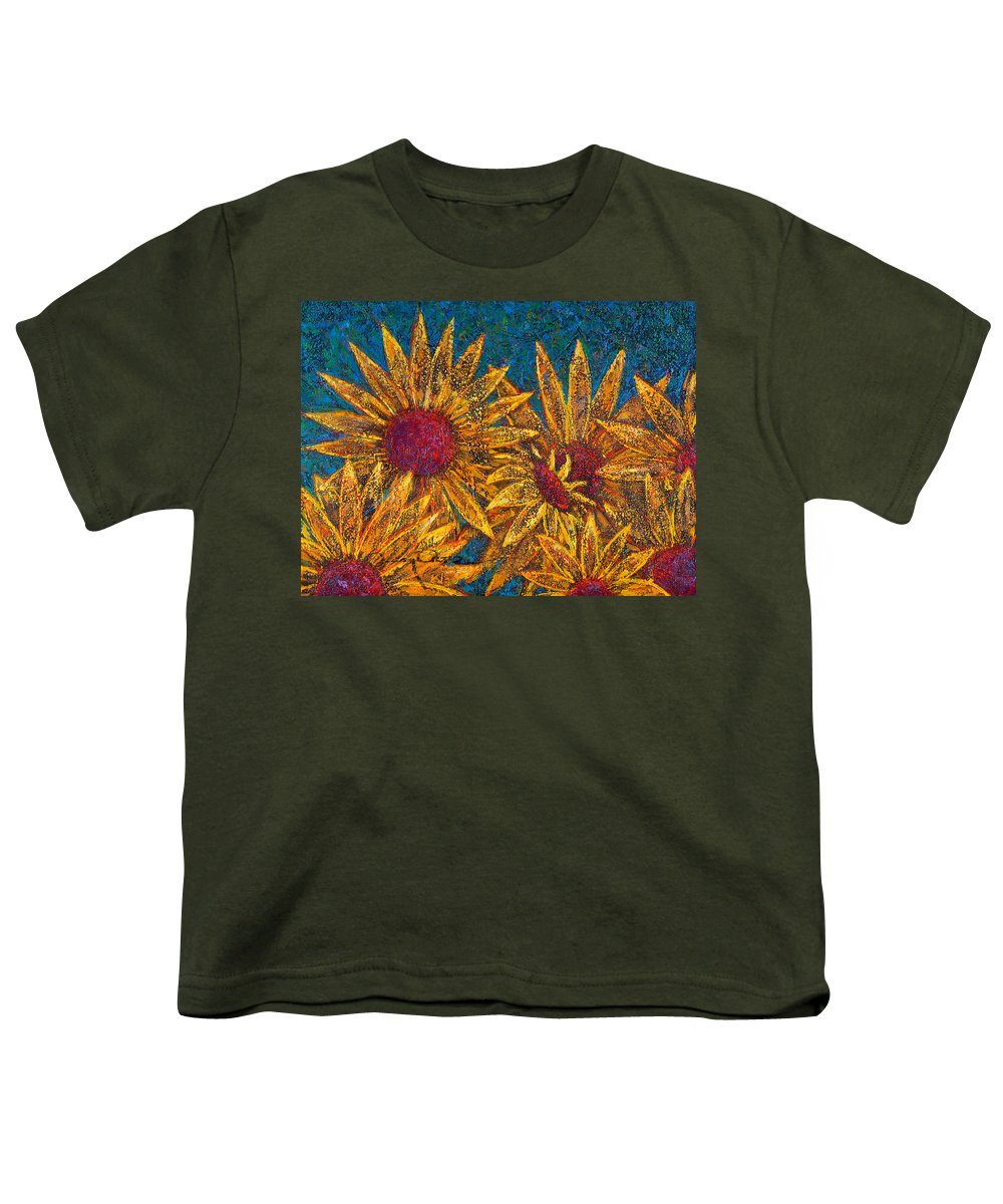 Flowers Youth T-Shirt featuring the painting Positivity by Oscar Ortiz