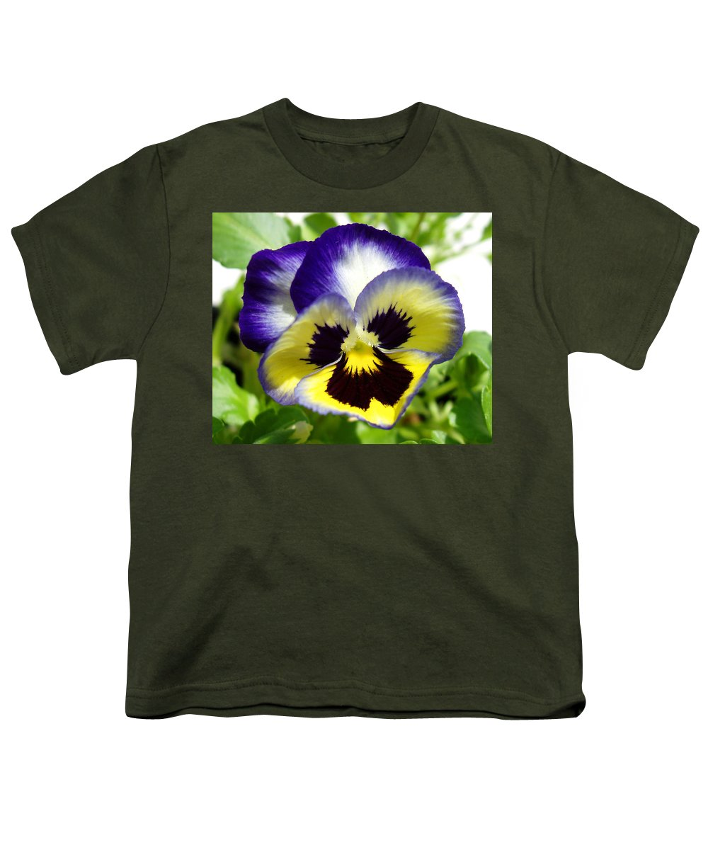 Pansy Youth T-Shirt featuring the photograph Purple White And Yellow Pansy by Nancy Mueller