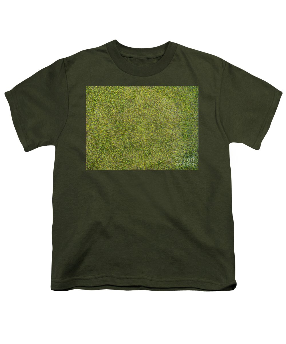 Abstract Youth T-Shirt featuring the painting Radiation With Green With Yellow by Dean Triolo