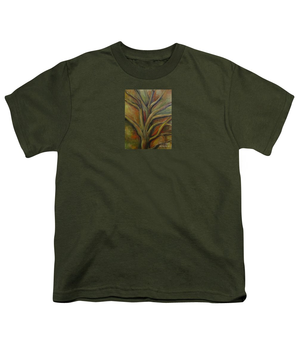 Tree Abstract Painting Expressionist Original Leila Atkinson Youth T-Shirt featuring the painting Rapt by Leila Atkinson