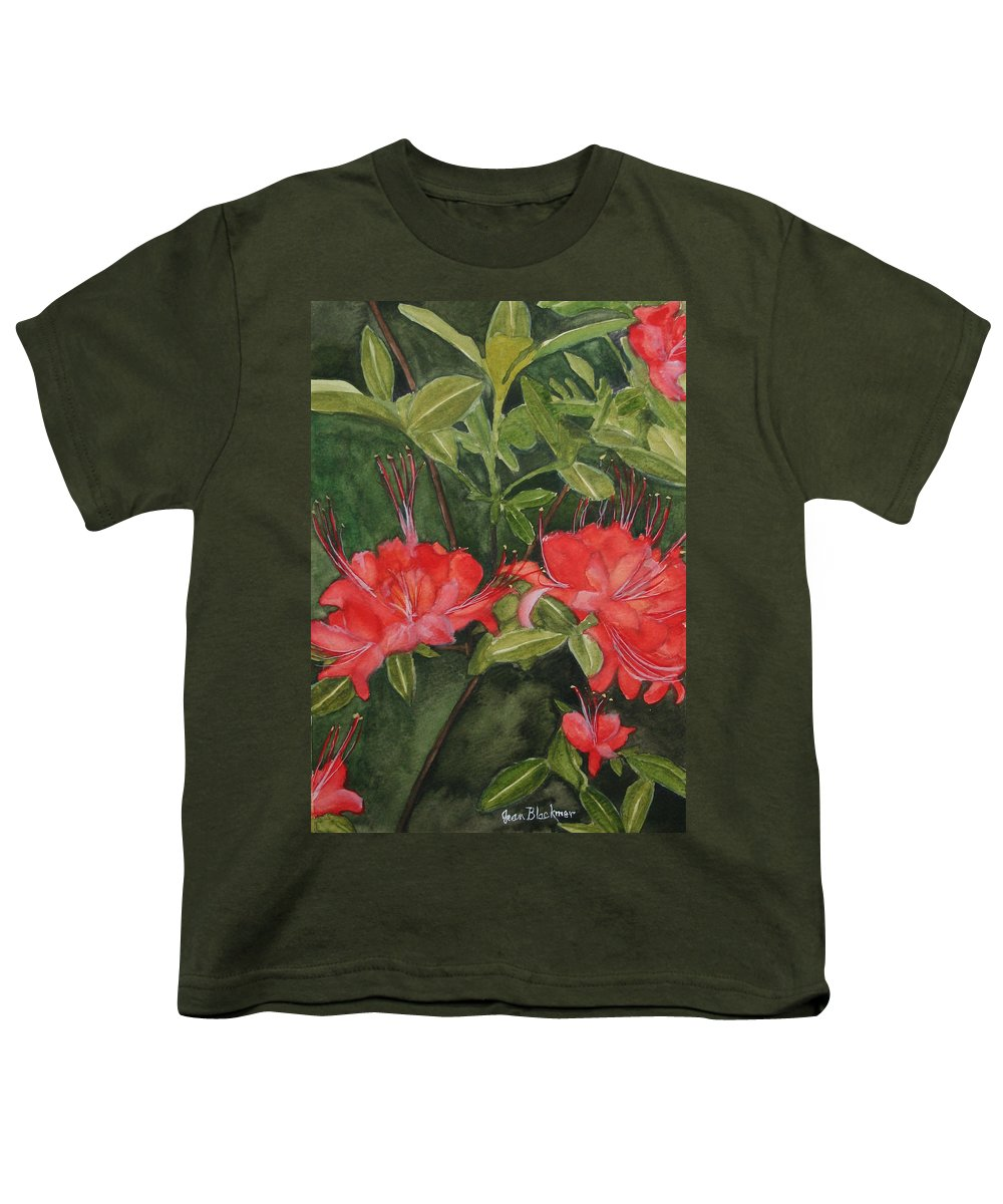 Flowers Youth T-Shirt featuring the painting Red Blooms On The Parkway by Jean Blackmer