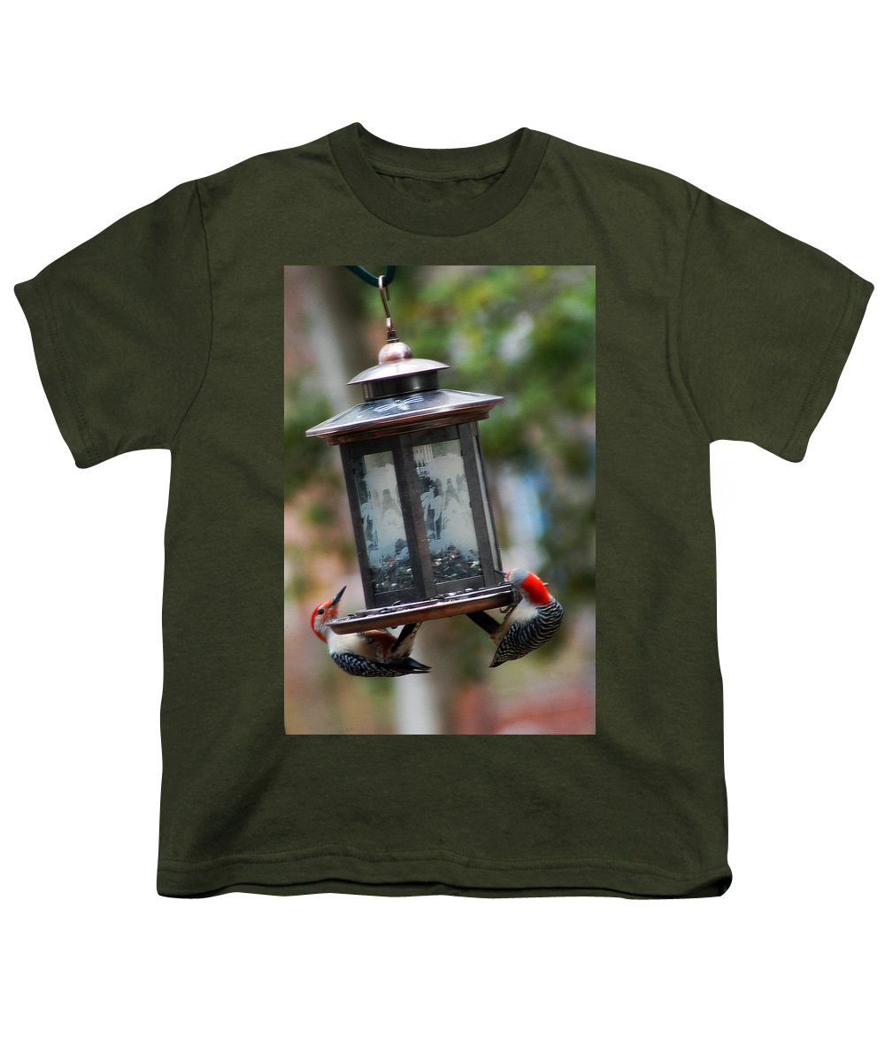 Clay Youth T-Shirt featuring the photograph Red Head Wood Peckers On Feeder by Clayton Bruster