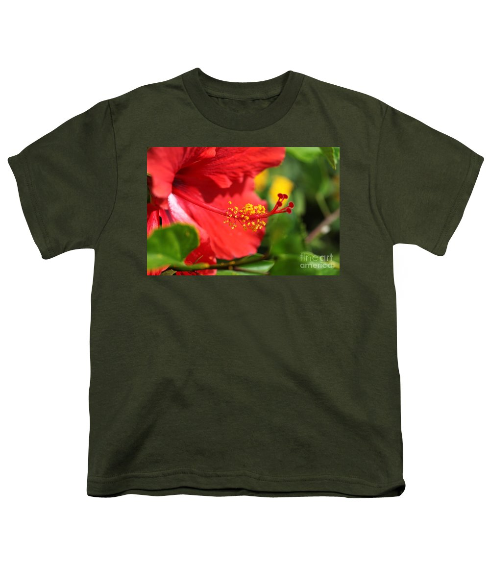 Flowers Youth T-Shirt featuring the photograph Red Hibiscus And Green by Nadine Rippelmeyer