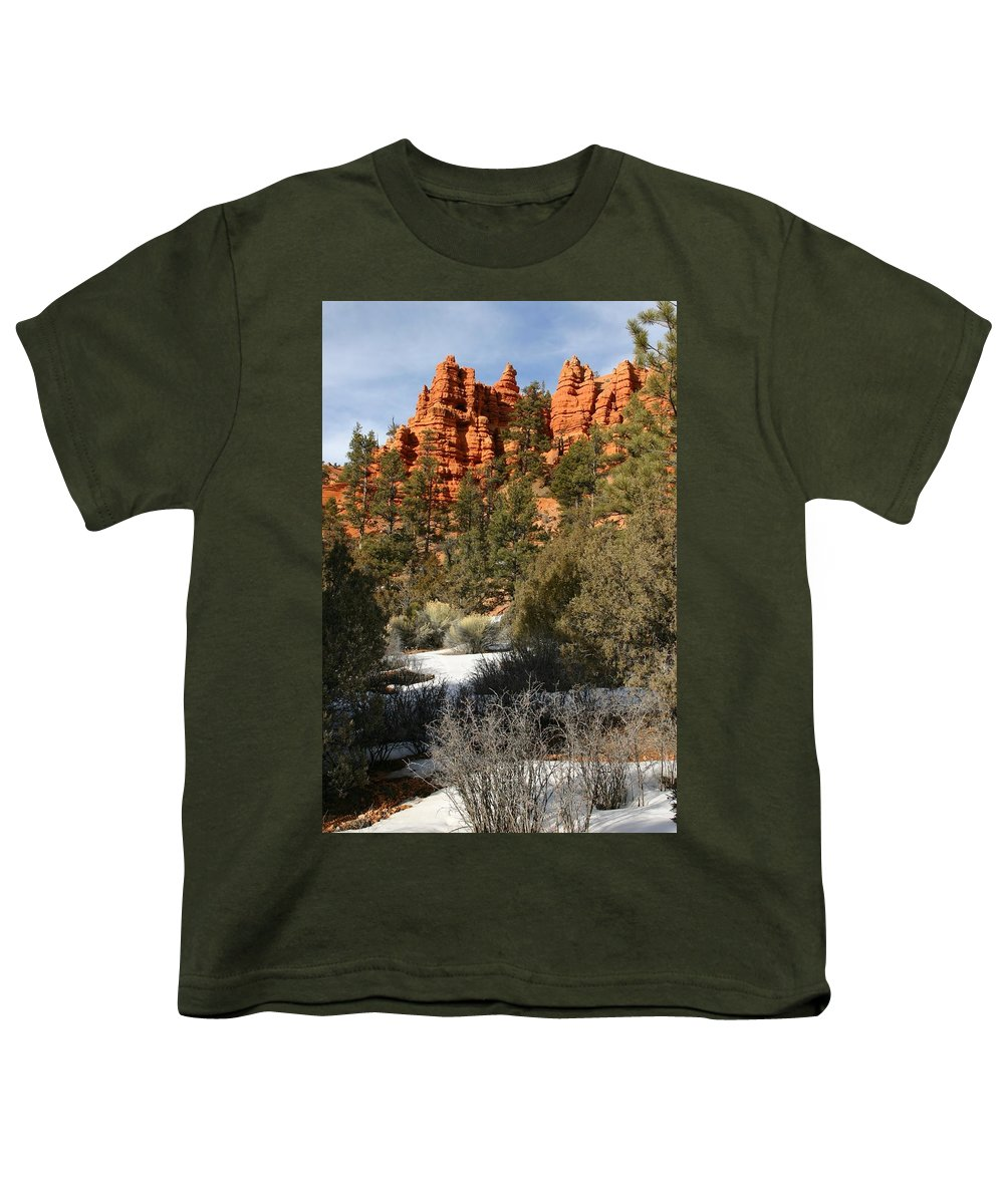 Red Rocks Youth T-Shirt featuring the photograph Redrock Winter by Nelson Strong