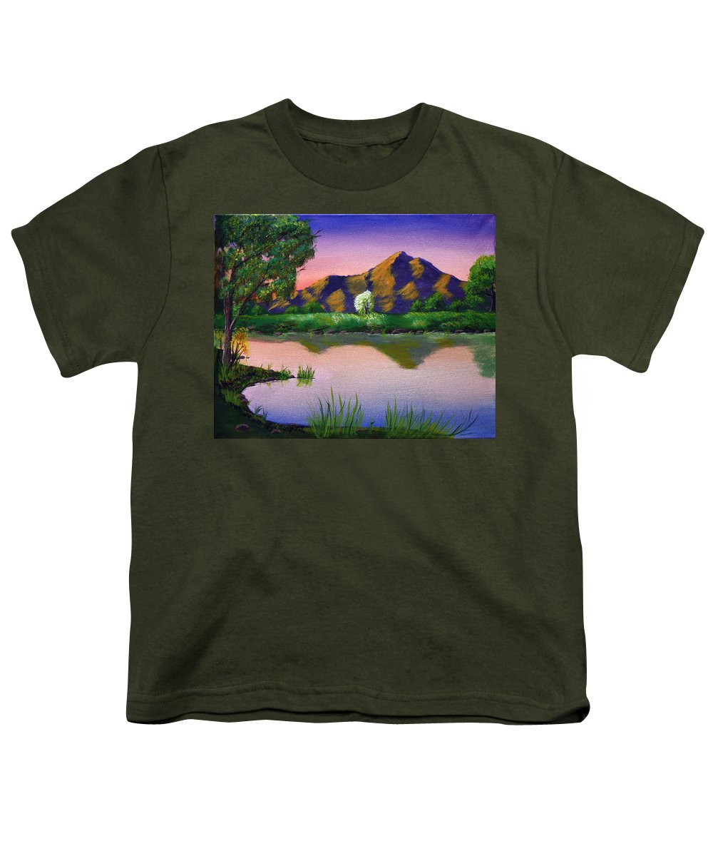 Landscape Youth T-Shirt featuring the painting Reflections In The Breeze by Dawn Blair
