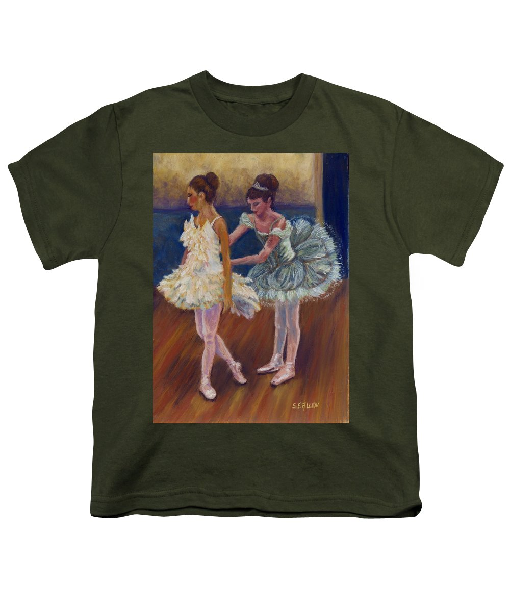 Ballerina Youth T-Shirt featuring the painting Ruffled Feathers by Sharon E Allen