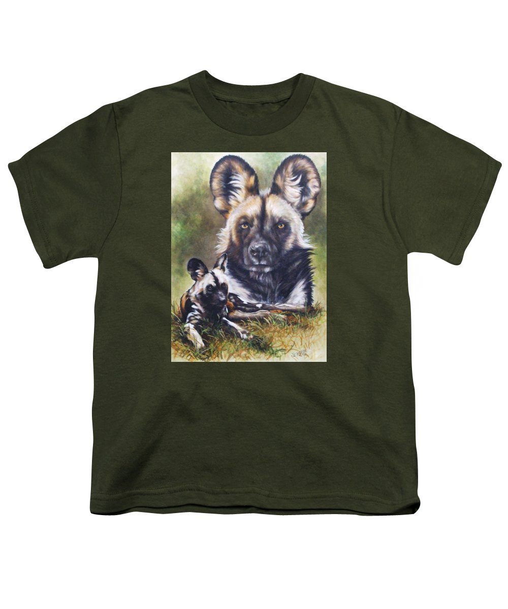 Wild Dogs Youth T-Shirt featuring the mixed media Scoundrel by Barbara Keith