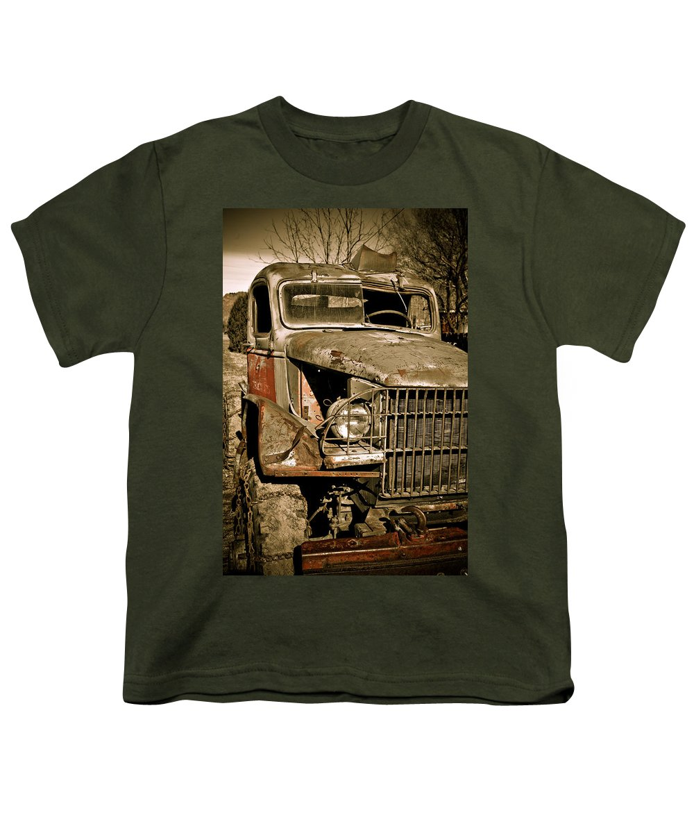Old Vintage Antique Truck Worn Western Youth T-Shirt featuring the photograph Seen Better Days by Marilyn Hunt