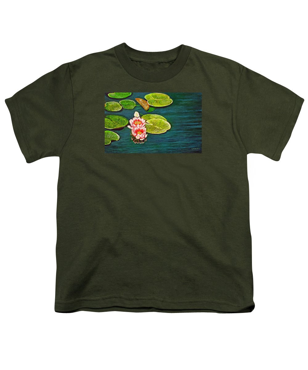 Water Lily Youth T-Shirt featuring the painting Serenity by Michael Durst