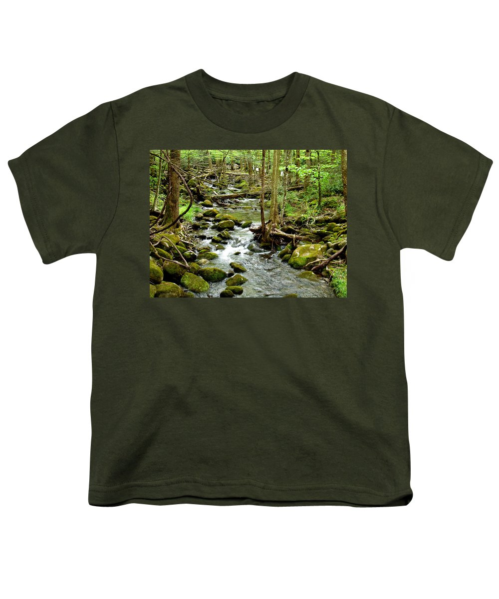 Smoky Mountains Youth T-Shirt featuring the photograph Smoky Mountain Stream 1 by Nancy Mueller