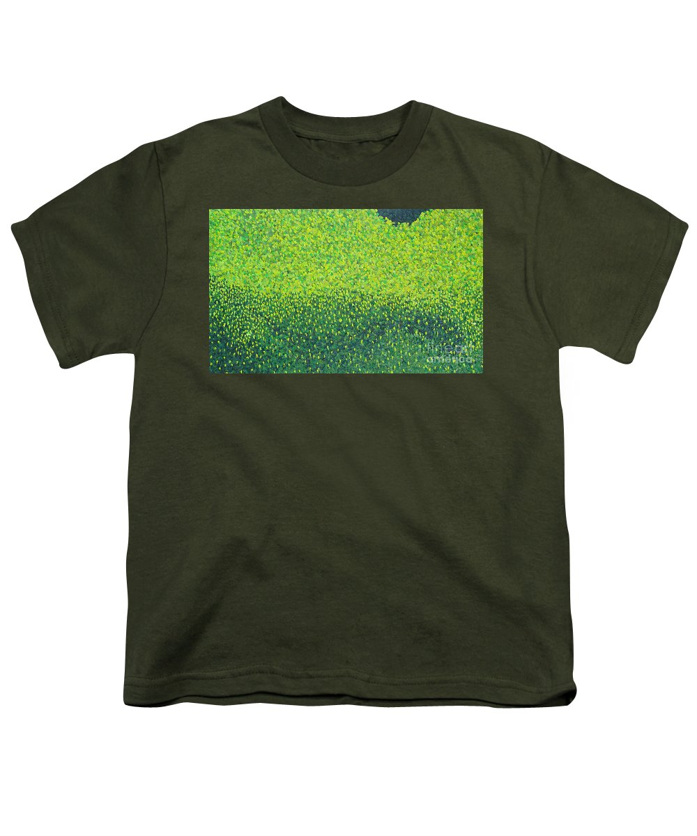 Abstract Youth T-Shirt featuring the painting Soft Green Wet Trees by Dean Triolo