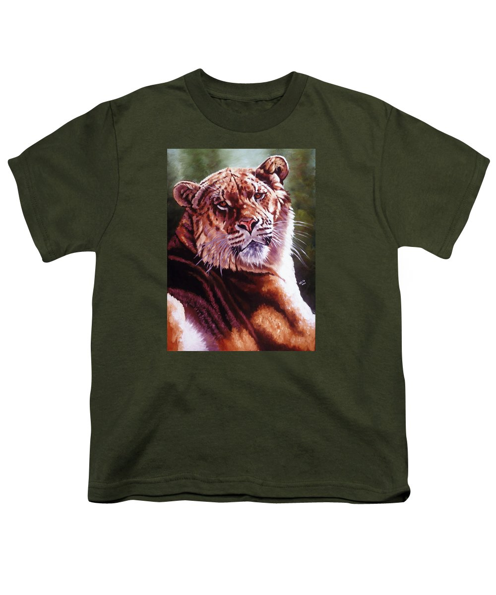 Hybrid Youth T-Shirt featuring the painting Sophie The Liger by Barbara Keith
