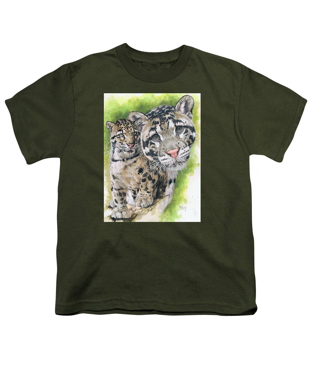 Clouded Leopard Youth T-Shirt featuring the mixed media Sovereignty by Barbara Keith