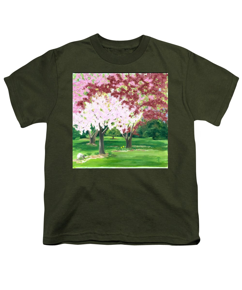 Spring Youth T-Shirt featuring the painting Spring At Osage Land Trust by Paula Emery